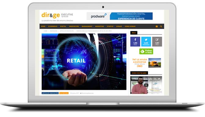 Pantalla de ordenador portátil mostrando web de directivosygerentes (DIR&GE)